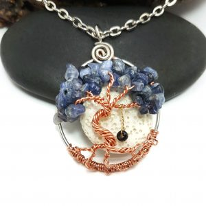 September Birthstone Pendant with Swing and Oil Diffusing Lava Rock,