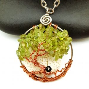 August Birthstone Tree of Life Pendant, Peridot Gemstone Chips and Onyx Swing