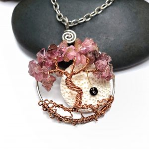 October Pink Tourmaline Birthstone Necklace with Oil Diffuser and Swing