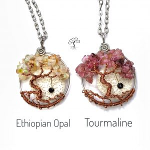 October Birthstone Necklaces, Opal and Pink Tourmaline with Oil Diffuser and Swing