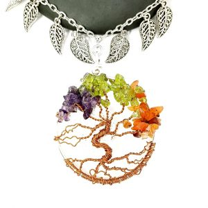 2 inch 4 seasons Tree of Life with Lava Stone Oil Diffuser and Leaf embellishments close up