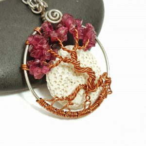 July Birthstone Ruby Tree of Life Necklace