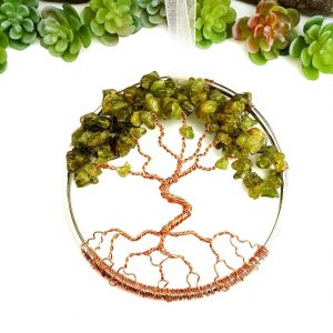August Birthstone Tree of Life Suncatcher with Peridot Gemstone Chips