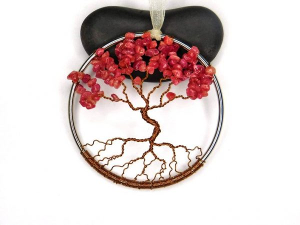 July Birthstone Tree of Life with Ruby Colored Jade Gemstones for leaves