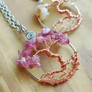 Opal and Pink Tourmaline Tree of Life October Birthstone Necklaces