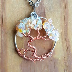 October Opal Birthstone Tree of Life Necklace