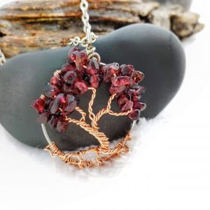 January Garnet Birthstone Tree of Life Necklace sans Diffuser and Swing