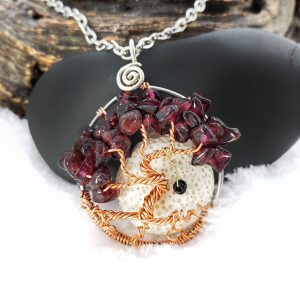 January Garnet Birthstone Tree of Life Necklace