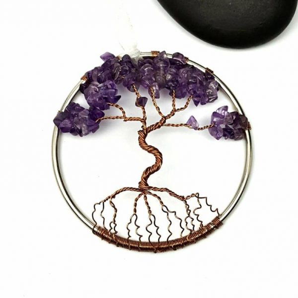 FEBRUARY BIRTHSTONE AMETHYST TREE OF LIFE 3 INCH SUNCATCHER