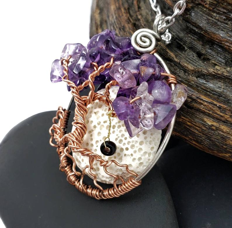 February Amethyst Pendant With Moon2