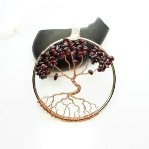Garnet January Birthstone Tree of Life Suncatcher