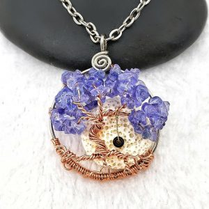 Tanzanite December Birthstone Tree of Life Pendant with oil diffusing lava rock and optional tire swing