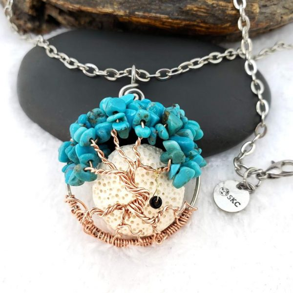Turquoise December Birthstone Tree of Life Pendant with oil diffusing lava rock and optional tire swing