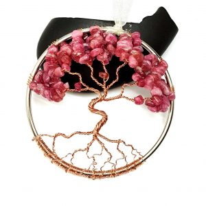 Pink Tourmaline October Birthstone Tree of Life Suncatcher
