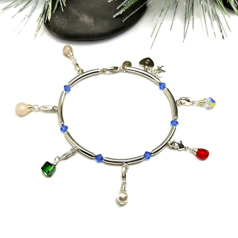 Bangle Style Silver Plated Purity Charm Bracelet