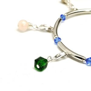 Silver Plated Bangle Style Purity Charm Bracelet