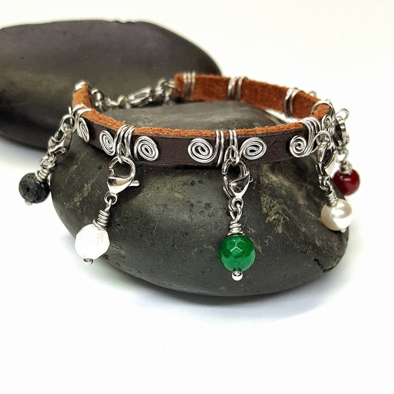 Leather and Stainless Steel Purity Charm Bracelet2