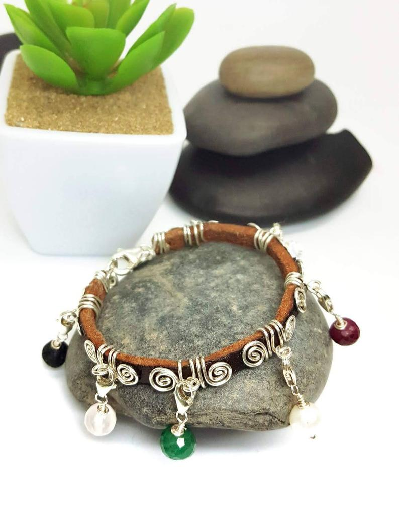 Leather and Sterling Silver Purity Charm Bracelet3