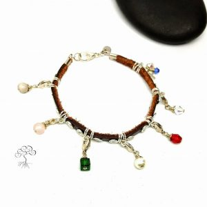 Silver Plated and Leather Purity Bracelet
