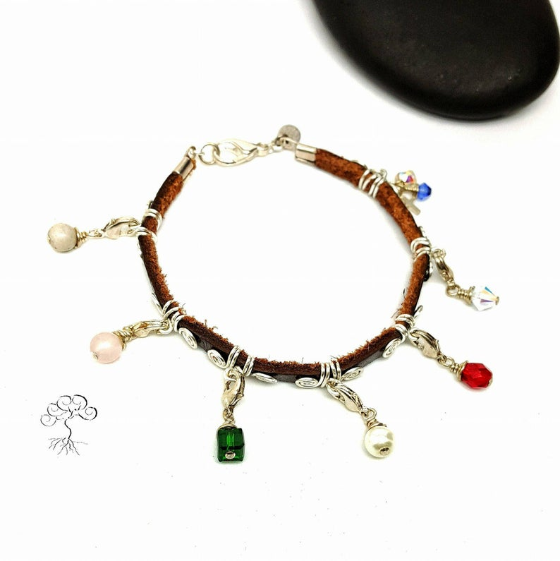 Silver Plated Leather Purity Charm Bracelet
