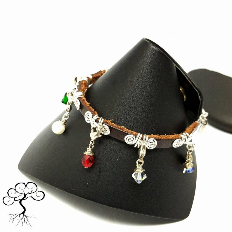 Silver Plated Leather Purity Charm Bracelet3