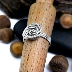 Tin Colored Copper Rose Ring