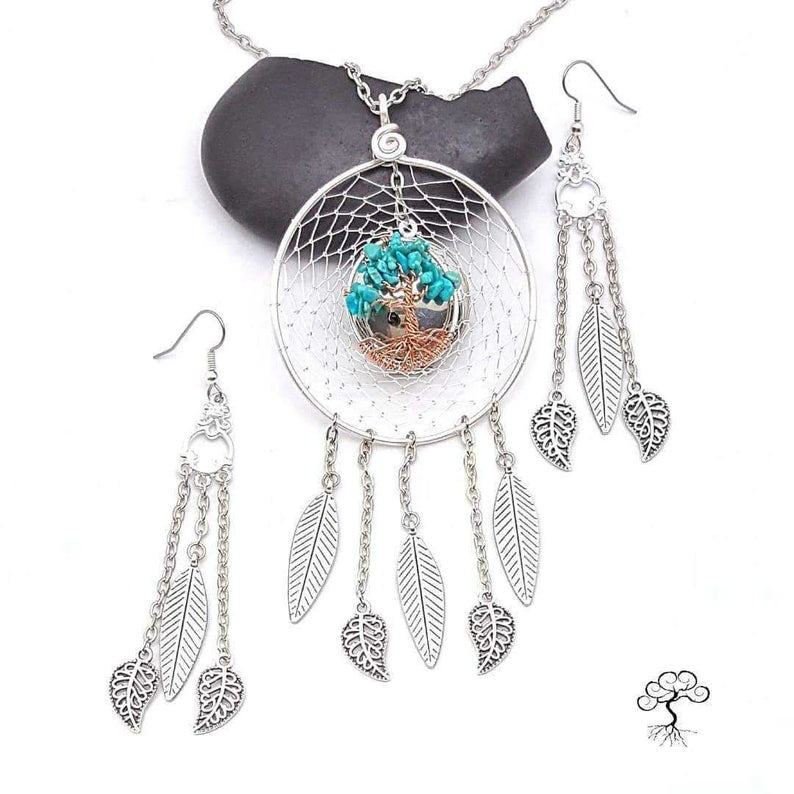 Boho Dreamcatcher Tree of Life Oil Diffusing Pendant and Earring Set3