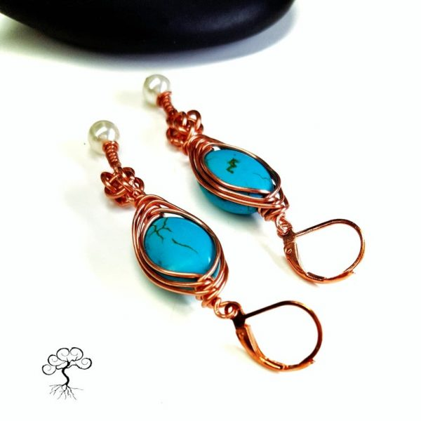 Copper Herringbone Weave Earrings, With Turquoise Magnesite and Swarovski Pearl