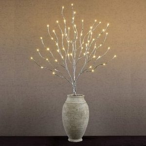 Abba Patio LED Willow Twig Branch lights with vase