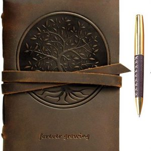 Tree Of Life Embossed Leather Bound Journal