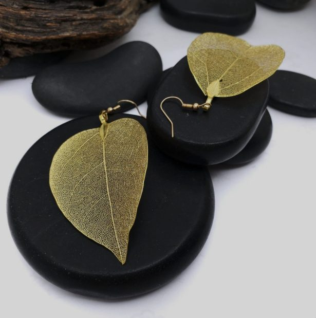 gold electroplated Leaf earrings