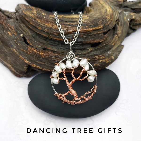 Peal Tree of Life Pendant, with copper trunk and branches