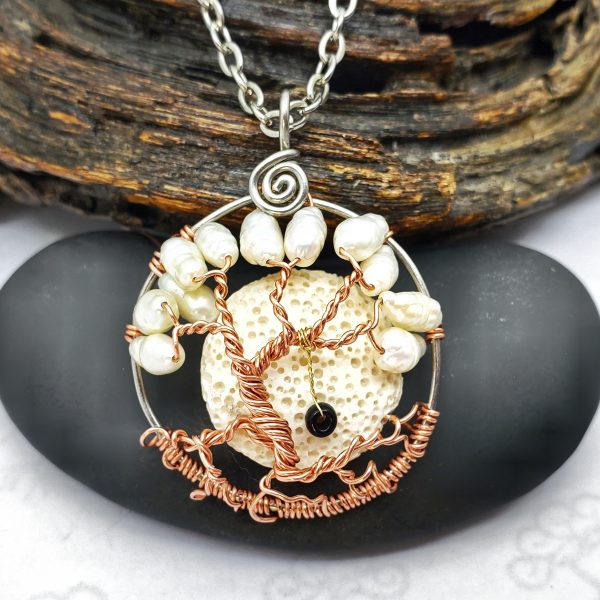 Peal Tree of Life Necklace with Oil Diffusing Lava Rock