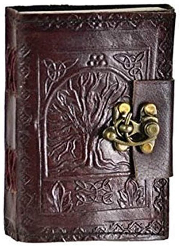 Front view of Blank Wicca spell book made of embossed leather with Celtic tree of life design