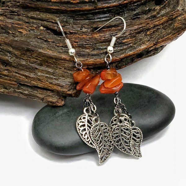 Carnelian Leaf Cluster Earrings