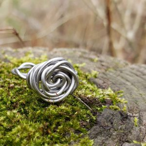Silver colored copper wire rose ring