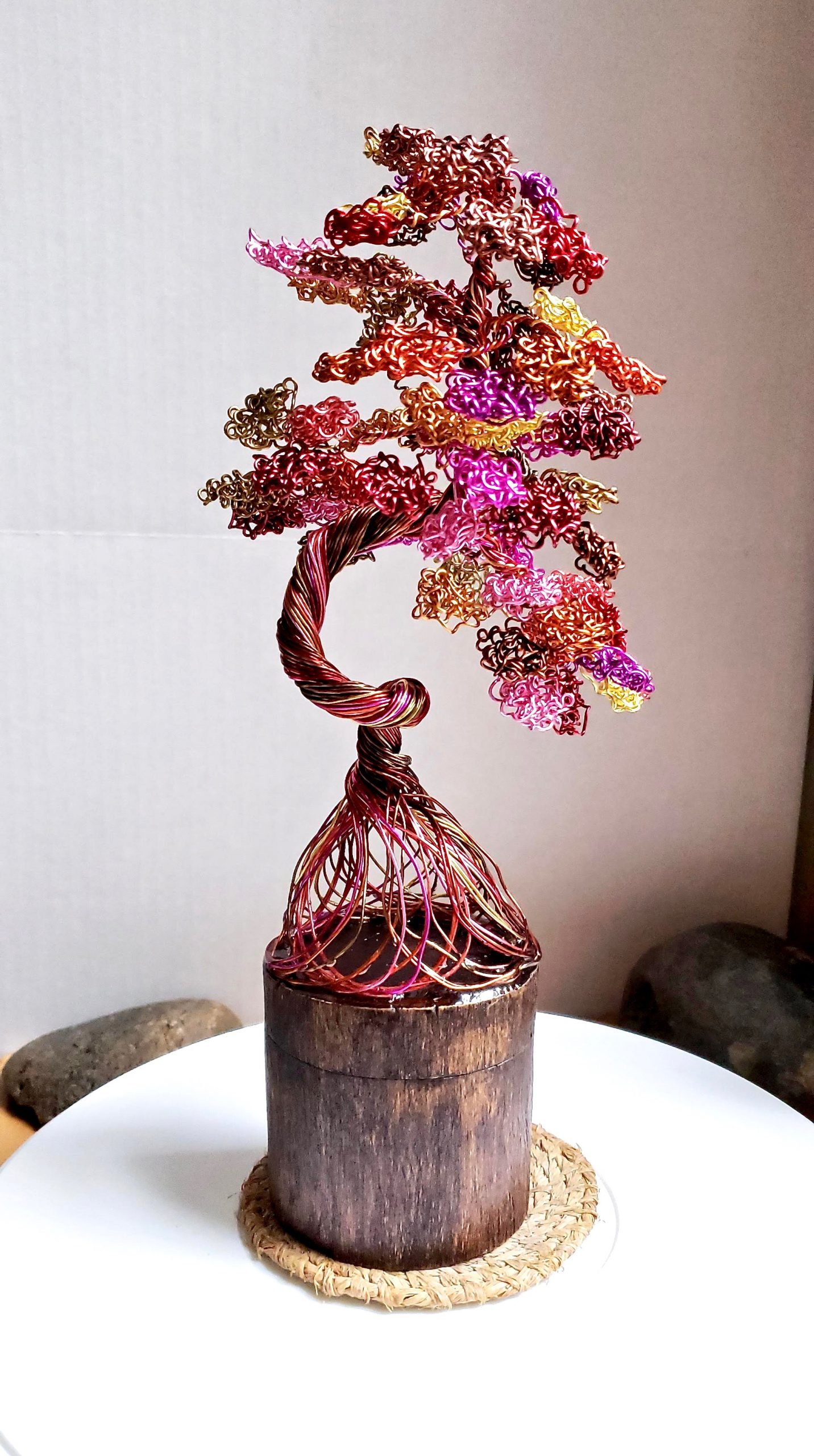 Sunset Dancing Tree Sculpture on real wood base