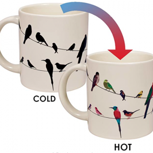 Picture demonstrating how art on a coffee cup will change color when filled with hot beverage