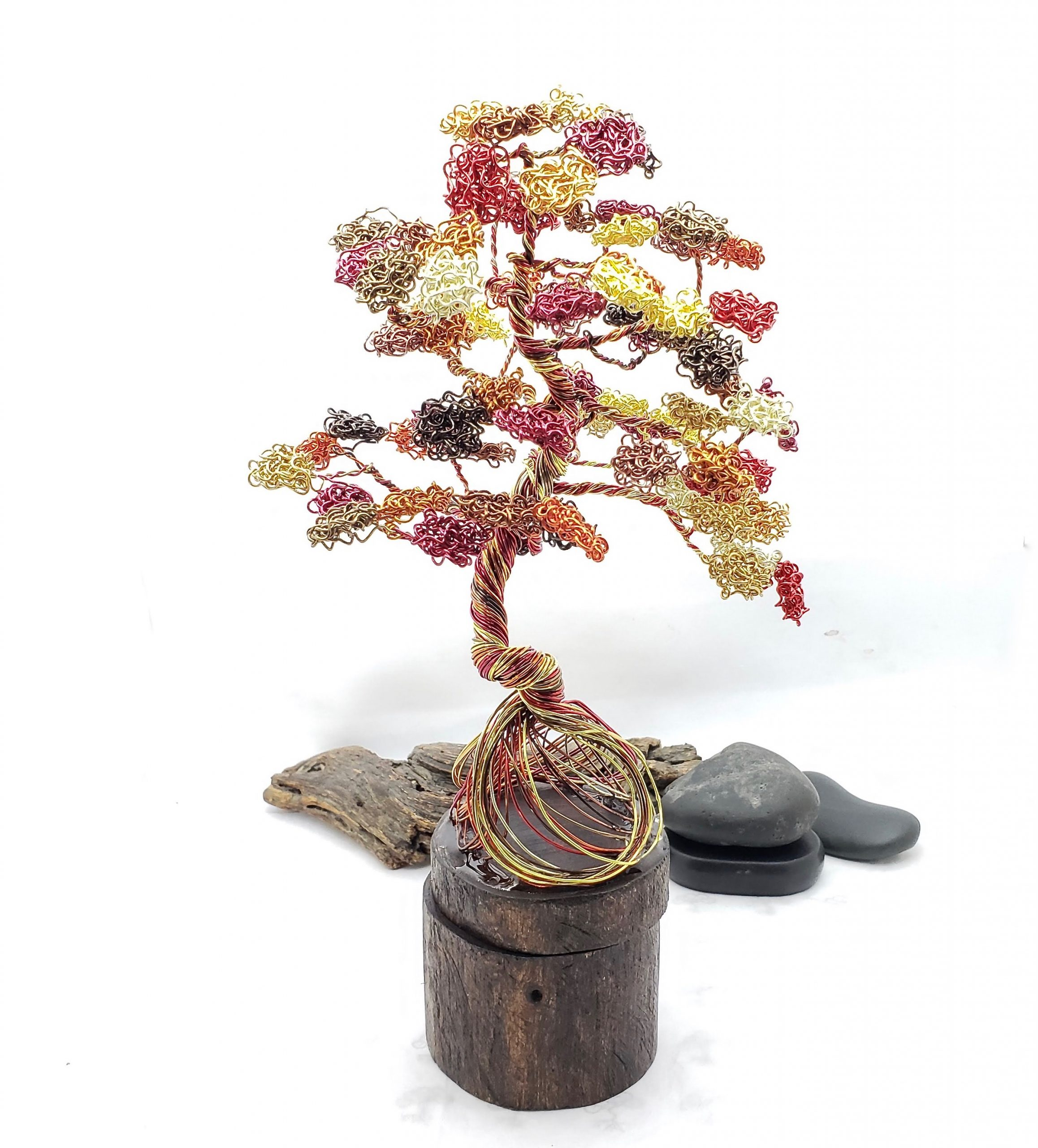 Autumn Wonder Dancing Tree on Real Wood Base