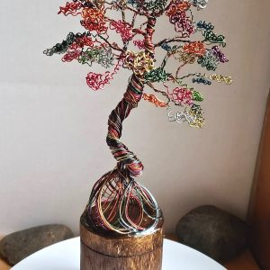 Rainbow Dancing Tree on Real Wood Base
