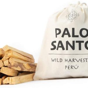 Palo Santo Smudging sticks and bag on white background