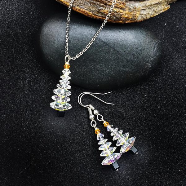Clear Swarovski Christmas Tree Necklace and Earring Set, with Black Base