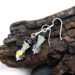 Clear Swarovski Crystal Snowmen Earrings, Winter Forest Collection
