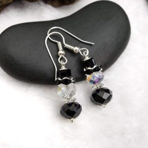 Jet and Clear Crystal Snowmen Earrings, Winter Forest Collection