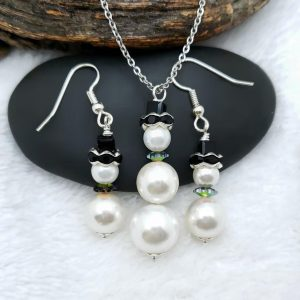 Tall Pearl Snowman Necklace with Matching Earrings, Winter Forest Collection