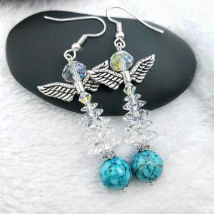 Angel Topped Christmas Tree Earrings with Turquoise Base, Winter Forest Collection