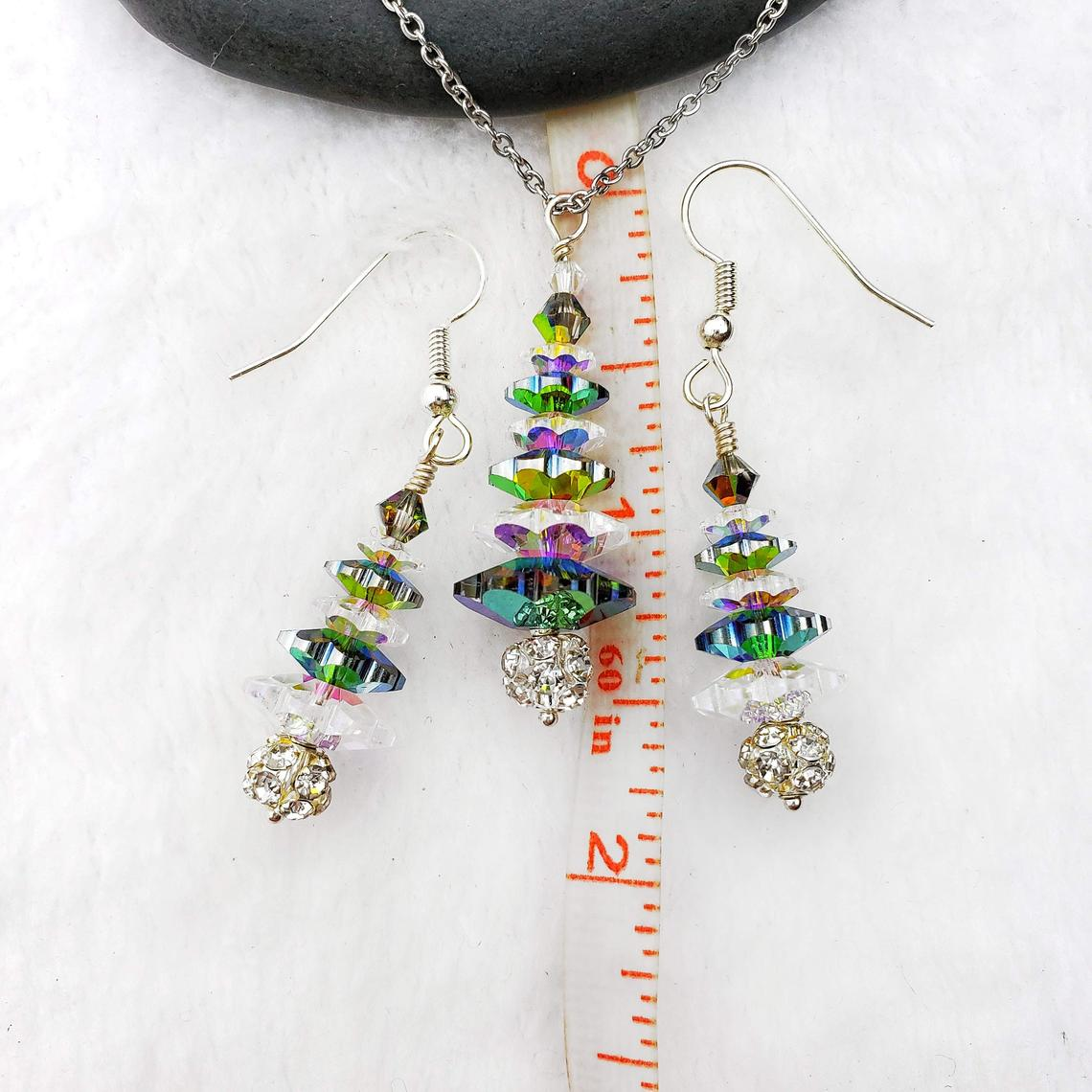 White and Vitrail Swarovski Crystal Tree Necklace and Earring Set, with Rhinestone Ball, Winter Forest Collection