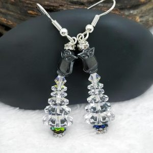 Hematite Owl Topped Christmas Tree Earrings with Rhinestone Base