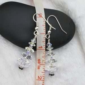 Clear Swarovski Christmas Tree Earrings, with Silver and Jet Base, Winter Forest Collection