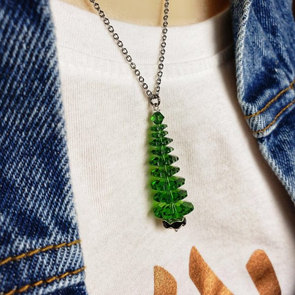 Fern Green Swarovski Christmas Tree Necklace and Earring Set, With Black Tree Base, Winter Forest Collection